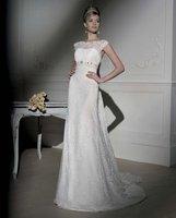 Elegant Lace Strap Curved Neckline Discount Cheap Wholesale Designer Vintage 2013 Ivory Bridal Gown Wedding Dresses In Stock Hot