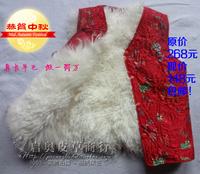 Women's long wool fur vest thermal sheepskin waistcoat cotton vest the elderly genuine leather real fur vest
