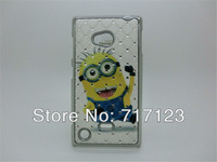 1 Piece Painted Bling Rhinestone Cute Cartoon Case DESPICABLE ME2 Chrome Hard PC Case Cover For Nokia Lumia 720 Free Shipping