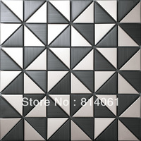 triangle pattern wall decoration mosaic/ matel and stainless steel mosaic/ black wired drawing mosaic