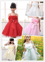 2014- New Fashion Children's Dress, 4 colors baby Girl with big bowknot color tutu style dresses,the children's clothing