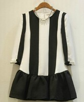 2013 plus size clothing black and white stripe plus size plus size one-piece dress basic skirt