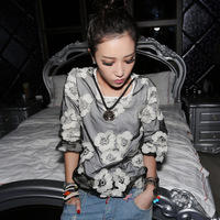 2013 autumn women t-shirt female long-sleeve long johns trend shirt personalized t-shirt