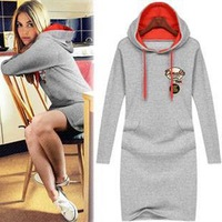 Flora women's 2013 autumn fashion with a hood sweatshirt long-sleeve dress