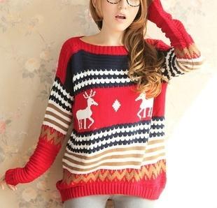 Бесплатная доставка ! Новая мода Толстые Bat рукавом Свободные длинными рукавами свитер Олень План главы свитер . 3 цвета