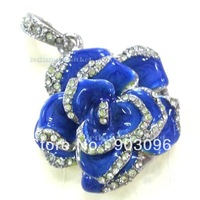 Blue Crystal Rose Model 2GB 4GB 8GB 16GB 32GB USB Memory Flash Stick Pen Drive + Necklace