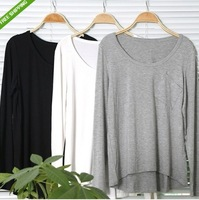 free shipping# Fashion Womens Crew Neck Long-sleeved Loose Cotton Trend T-shirts Blouse Tops