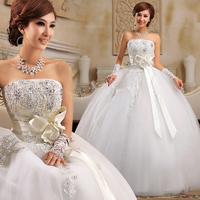Good quality princess wedding dress with sweet bow and rhinestones; Aiweiyi