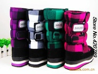 2013 NEW women's motorcycle boots Plaid fashion lady warm cotton non-slip boots snow boots snow shoes shoes multicolor