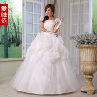 Love 2014 wedding formal dress bag puff sleeve sweet princess wedding dress the bride wedding dress