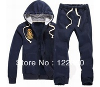 New Gold Big Horse Tracksuit Style Men's Zipper Cardigan Sport Suits Tracksuits Hoodies Fashion Coats Pants Jackets Drop Ship