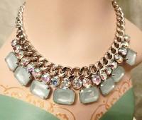 Free shipping!!Mint green Magnificent Chunky Imitation Gem Choker Bib Statement Necklace