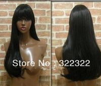 "top 5a quality 20"" #1b silky straight 100%virgin malaysian hair lace front glueless wig with heavy bang,  free shipping"