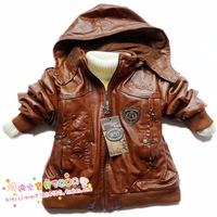 Children's clothing winter male child leather clothing child leather jacket boys wadded jacket outerwear plus velvet  y759
