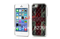 DHL  Free Shipping  Retro Unin Jack Flag Rhinestone Back Case for iPhone 5C  100pcs/lot