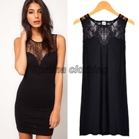 New Women's Sleeveless Sexy Lace Splicing Deep V Back Slim Mini Dress Black 16038
