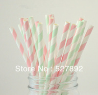 Free Shipping 100pcs/lot  Light Pink and Mint Green Stripe Paper Drinking Straws,Wedding, Birthday ,Festive Party Supplies