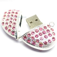 Bling Bling Crystal Heart 2GB 4GB 8G 16G 32GB USB Flash Memory Drive Stick+Necklace