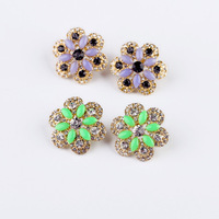 Fashion fashion accessories flower rhinestone gem women's stud earring accessories