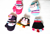 Free Shipping Hot Christmas Gift, Handmade Knitting Cotton Gloves, Lovely Rabbit Shape Gloves, Color Stripes Hand Warmer CL10017