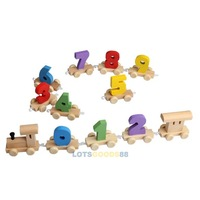 LS4G Digital Number Wooden Train Figures Railway Kids Wood Mini Toy Educational