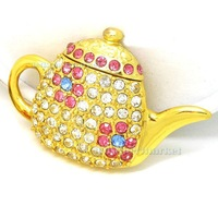 Gold Crystal Tea Pot Model 2GB 4GB 8GB 16GB 32GB USB 2.0 Memory Flash Stick Pen Drive
