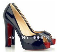 Free Shipping Women High Heels Platform Peep Toe Black Patent Leather Shoes Brand Red Bottom Sandals