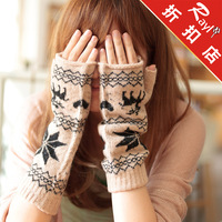 Rayli rabbit fur mittens winter women's yarn thermal semi-finger oversleeps gloves gl1391