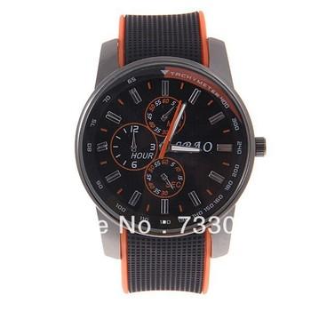 Free shiping!Stylish SBAO 167 Men's Round Dial Quartz Hours Analog Rubber Band Wrist Watch - Black and Orange WAHS167
