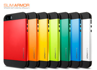 2pcs /lot SLIM ARMOR SPIGEN SGP case for iPhone 5 5s 5G hard Back Cover Luxury TPU + Plastic 9 Colors Retail Box