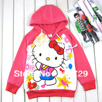 Wholesale 1 lot = 4 pics 2013 children's cartoon hoodies girls hot baby sale autumn-summer coat jacket hello kitty jacket sports