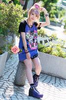 Kera punk zipper HARAJUKU color block decoration length sleeve t-shirt dress female short-sleeve listen flavor