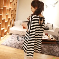 2014 summer women's stripe racerback plus size loose mm long design short-sleeve T-shirt female