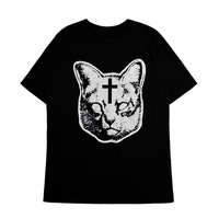 Fashion punk cross cat loose plus size clothing juniors bf short-sleeve T-shirt killstar