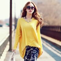 2014 autumn batwing sleeve loose long-sleeve T-shirt medium-long plus size female one-piece dress long-sleeve basic shirt female