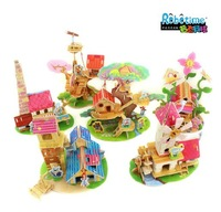 Free Shipping Authentic Children's Educational Toys 3D Puzzle Assembled Dream House Handmade Wooden Assembling 10 Color Style