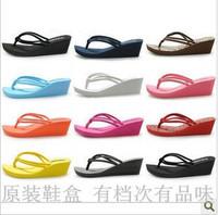 Summer classic beach flip wedges slippers platform flip flops plus size female high-heeled slippers