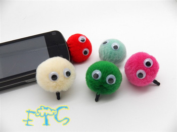 cute fur ball for ball apple mobile phone dust plug 3.5mmhair bulb  plug earphones jack cell phone accessories free shipping