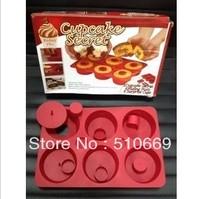 C Free ShippingCUPCAKE SECRET 14pc Silicone Bakeware Set cupcake maker donut mold cake tools Moulds