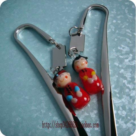 China Wholesale Cheap Hot Economic Colored glaze male girl lovers bookmark gift bookmark(China (Mainland))