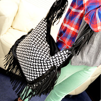 free shipping Bags sweet 2013 women's fashion shoulder bag messenger bag tassel woven bag big bag