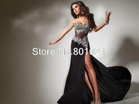New Fashion Tony Bowl 2014 Design See Through Black Evening Prom Dress Factory Price