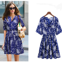 2013 New Income Woman Fashion Blue and White Porcelain Plus Size Japanese and Korean Clothing One Piece Dress Innovative Items