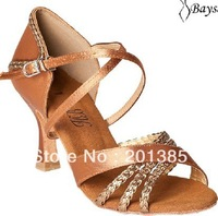 Professional Ladies Girls Tan Satin Latin Ballroom Shoes Salsa Dance Shoes Bachata Dance Shoes Size 35,36,37,38,39,40,41,