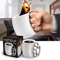 Free shipping 36pcs/lot  Fist cup Brass Knuckle  Handle Cup Coffee Milk Ceramic Mug Creative Cup