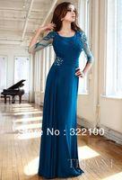 wholesale KW8846 elegant light blue beaded long evening dresses with sleeves