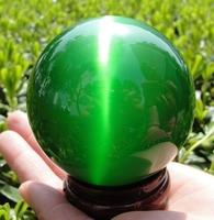 Hot Sell Asian Quartz Green Cat Eye Crystal Ball Healing Sphere 40MM