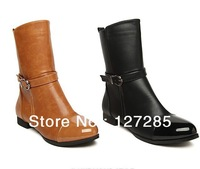 Autumn And Winter In Europe And America Women's Motorcycle Boots Women Genuine Punk Leather Shoes Free Shipping 0039