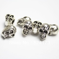Free Shipping 50pcs Silver Tone Skull Beads Horizontal Hole for European Charms Bracelet 13*8mm
