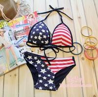 American flag wireless 100% cotton lacing sexy bikini young girl underwear bra set